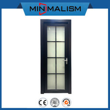 Black 2.0mm Aluminium Swing Bathroom Door Casement with Aluminum Grid